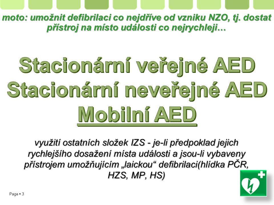 Page  3 moto: umožnit defibrilaci co nejdříve od vzniku NZO, tj.