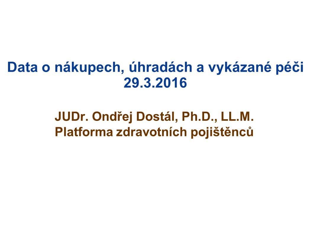 Data o nákupech, úhradách a vykázané péči 29.3.2016 JUDr.