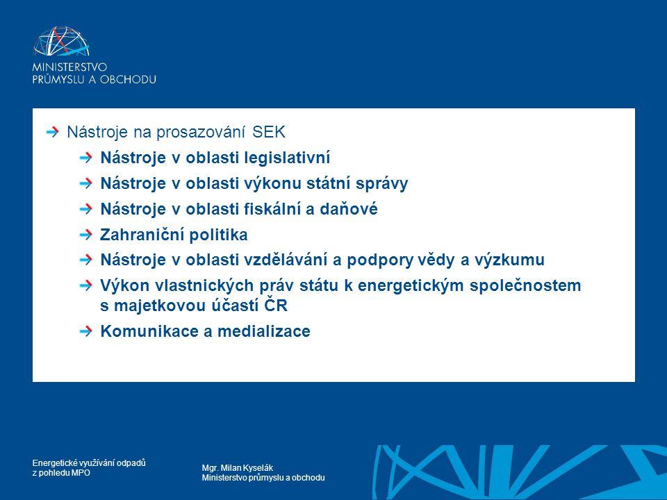 Mgr. Milan Kyselák Ministerstvo průmyslu a obchodu Energetické využívání odpadů z pohledu MPO Nástroje na prosazování SEK Nástroje v oblasti legislati