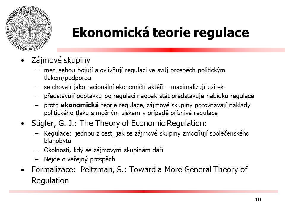 Ekonomická teorie regulace Vysvětluje zda a jaká regulace bude –Silně konkurenční prostředí & monopolní cena: tlak spotřebitelů ke změně regulace –Silně monopolní prostředí & konkurenční cena: tlak monopolu na změnu regulace Nejde o veřejný prospěch –viz teorie veřejného zájmu – NTPT Používají se ekonomická kritéria 11