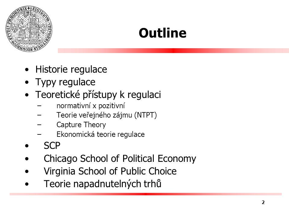 Typy regulace Ekonomická regulace –Přímá, zasahuje odvětví –Např.