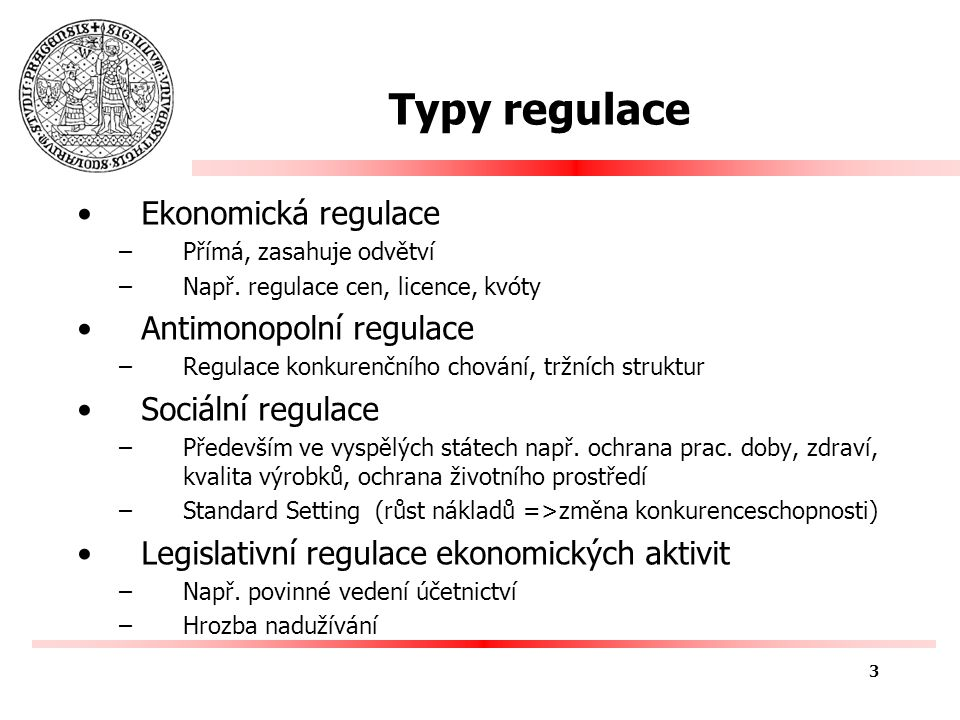 Teoretické přístupy k regulaci normativní x pozitivní Teorie veřejného zájmu (NTPT) –Normative Theory as a Positive Theory Capture Theory Ekonomická teorie regulace 4