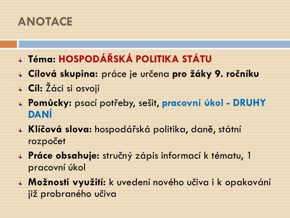 ANOTACE Téma: HOSPODÁŘSKÁ POLITIKA STÁTU Cílová skupina: práce je určena pro žáky 9.