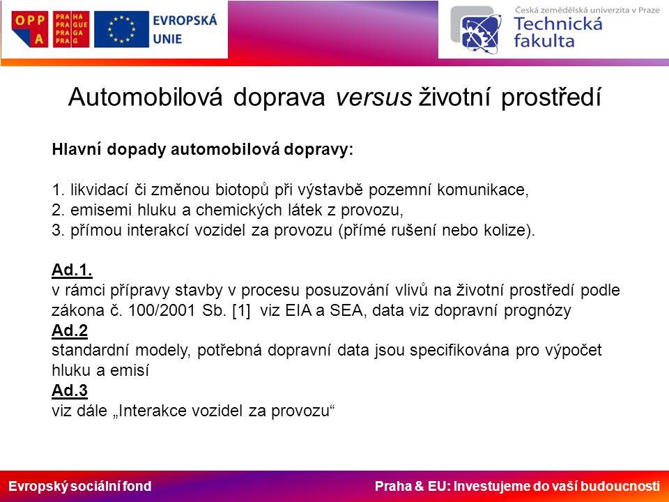Evropský sociální fond Praha & EU: Investujeme do vaší budoucnosti Automobilová doprava versus životní prostředí Hlavní dopady automobilová dopravy: 1.