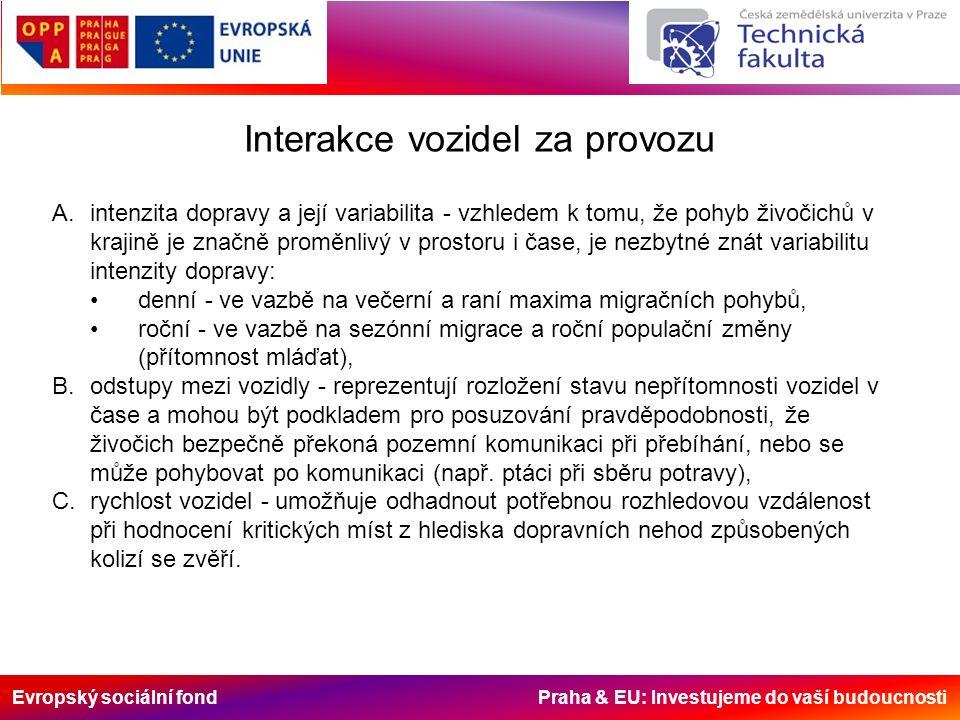 Evropský sociální fond Praha & EU: Investujeme do vaší budoucnosti Interakce vozidel za provozu A.intenzita dopravy a její variabilita - vzhledem k tomu, že pohyb živočichů v krajině je značně proměnlivý v prostoru i čase, je nezbytné znát variabilitu intenzity dopravy: denní - ve vazbě na večerní a raní maxima migračních pohybů, roční - ve vazbě na sezónní migrace a roční populační změny (přítomnost mláďat), B.odstupy mezi vozidly - reprezentují rozložení stavu nepřítomnosti vozidel v čase a mohou být podkladem pro posuzování pravděpodobnosti, že živočich bezpečně překoná pozemní komunikaci při přebíhání, nebo se může pohybovat po komunikaci (např.