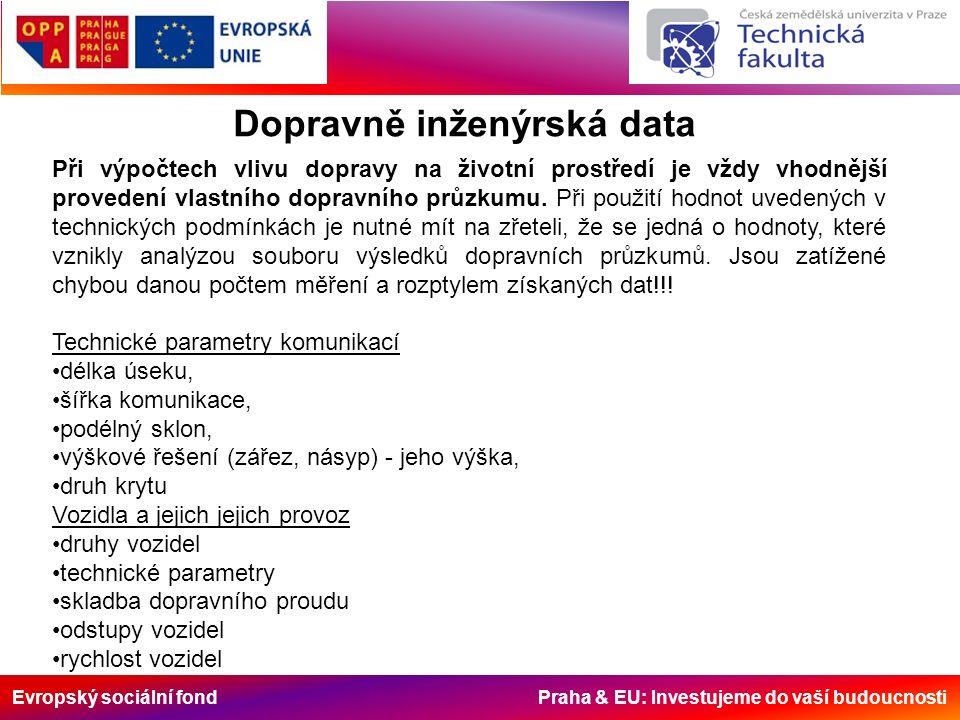 Evropský sociální fond Praha & EU: Investujeme do vaší budoucnosti Dopravně inženýrská data Při výpočtech vlivu dopravy na životní prostředí je vždy vhodnější provedení vlastního dopravního průzkumu.