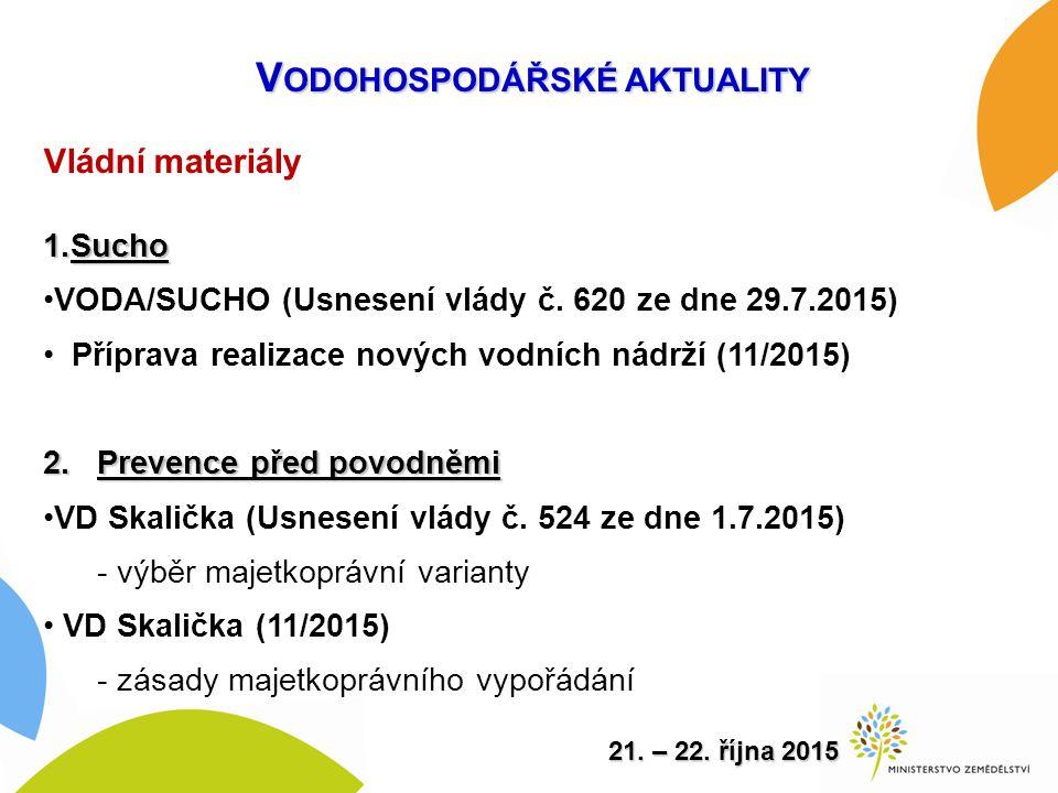 Vládní materiály 1.Sucho VODA/SUCHO (Usnesení vlády č.