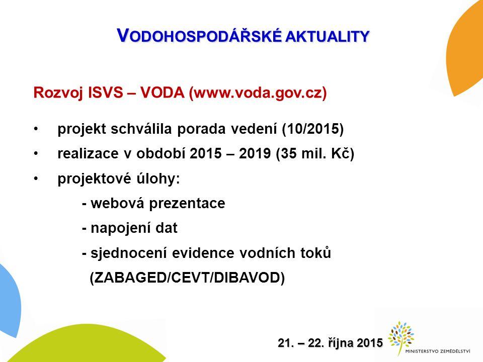 Rozvoj ISVS – VODA (www.voda.gov.cz) projekt schválila porada vedení (10/2015) realizace v období 2015 – 2019 (35 mil.