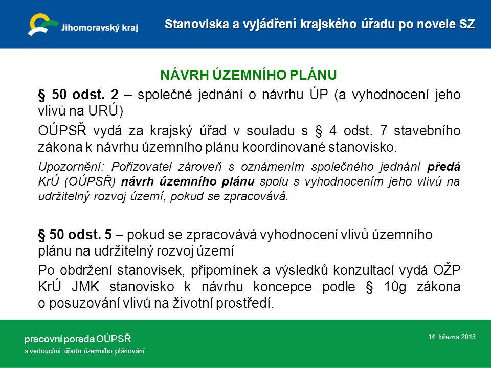 14.března 2013 NÁVRH ÚZEMNÍHO PLÁNU § 50 odst.