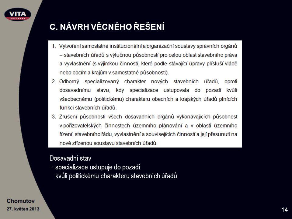 C. NÁVRH VĚCNÉHO ŘEŠENÍ Dosavadní stav −specializace ustupuje do pozadí kvůli politickému charakteru stavebních úřadů 14