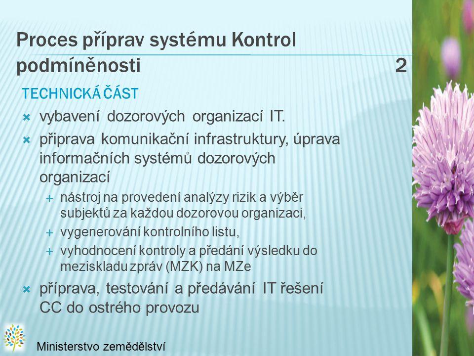 Proces příprav systému Kontrol podmíněnosti2 TECHNICKÁ ČÁST  vybavení dozorových organizací IT.  připrava komunikační infrastruktury, úprava informa