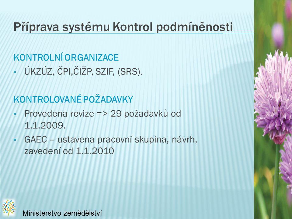 Příprava systému Kontrol podmíněnosti KONTROLNÍ ORGANIZACE  ÚKZÚZ, ČPI,ČIŽP, SZIF, (SRS).