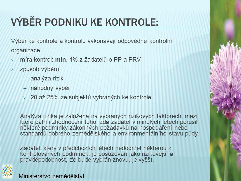 VÝBĚR PODNIKU KE KONTROLE: Výběr ke kontrole a kontrolu vykonávají odpovědné kontrolní organizace × míra kontrol: min. 1% z žadatelů o PP a PRV × způs