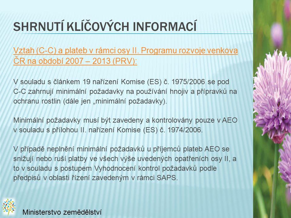 SHRNUTÍ KLÍČOVÝCH INFORMACÍ Vztah (C-C) a plateb v rámci osy II. Programu rozvoje venkova ČR na období 2007 – 2013 (PRV): V souladu s článkem 19 naříz