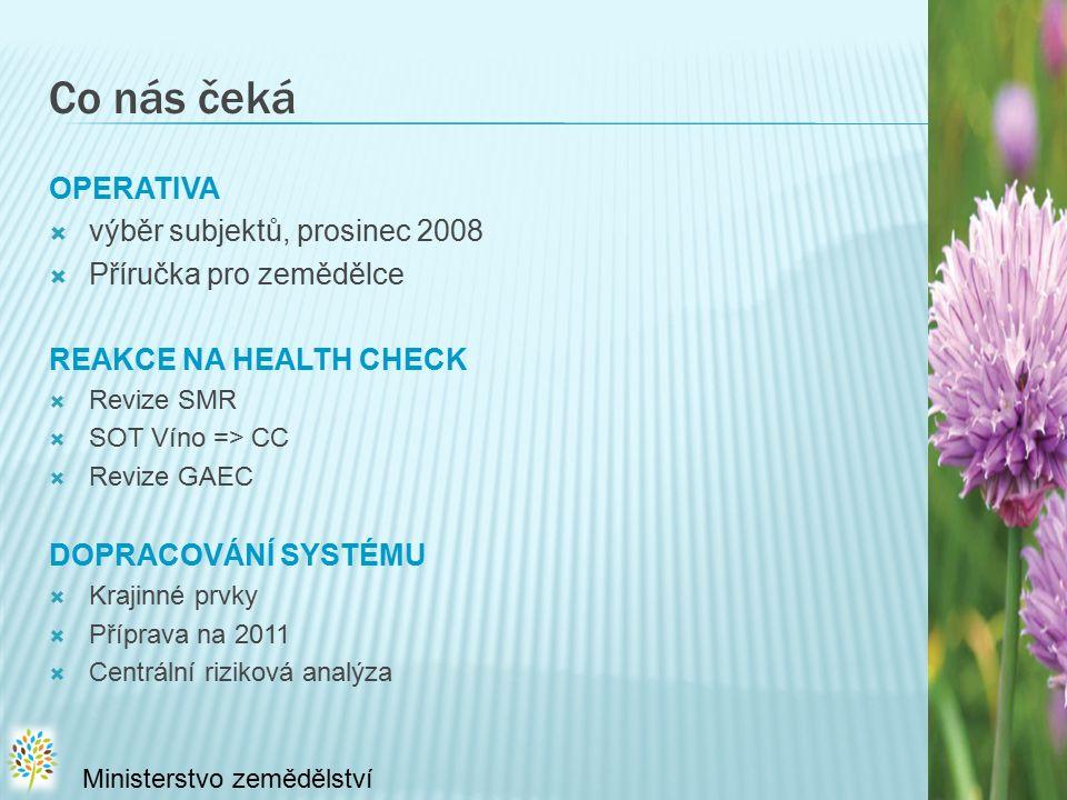 Co nás čeká OPERATIVA  výběr subjektů, prosinec 2008  Příručka pro zemědělce REAKCE NA HEALTH CHECK  Revize SMR  SOT Víno => CC  Revize GAEC DOPRACOVÁNÍ SYSTÉMU  Krajinné prvky  Příprava na 2011  Centrální riziková analýza Ministerstvo zemědělství