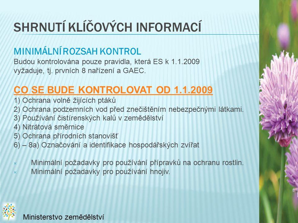 SHRNUTÍ KLÍČOVÝCH INFORMACÍ MINIMÁLNÍ ROZSAH KONTROL Budou kontrolována pouze pravidla, která ES k 1.1.2009 vyžaduje, tj.