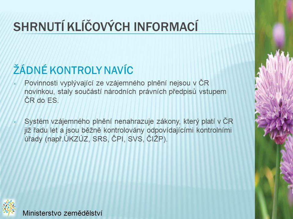 SHRNUTÍ KLÍČOVÝCH INFORMACÍ ŽÁDNÉ KONTROLY NAVÍC × Povinnosti vyplývající ze vzájemného plnění nejsou v ČR novinkou, staly součástí národních právních předpisů vstupem ČR do ES.
