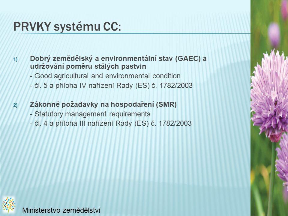 PRVKY systému CC: 1) Dobrý zemědělský a environmentální stav (GAEC) a udržování poměru stálých pastvin - Good agricultural and environmental condition