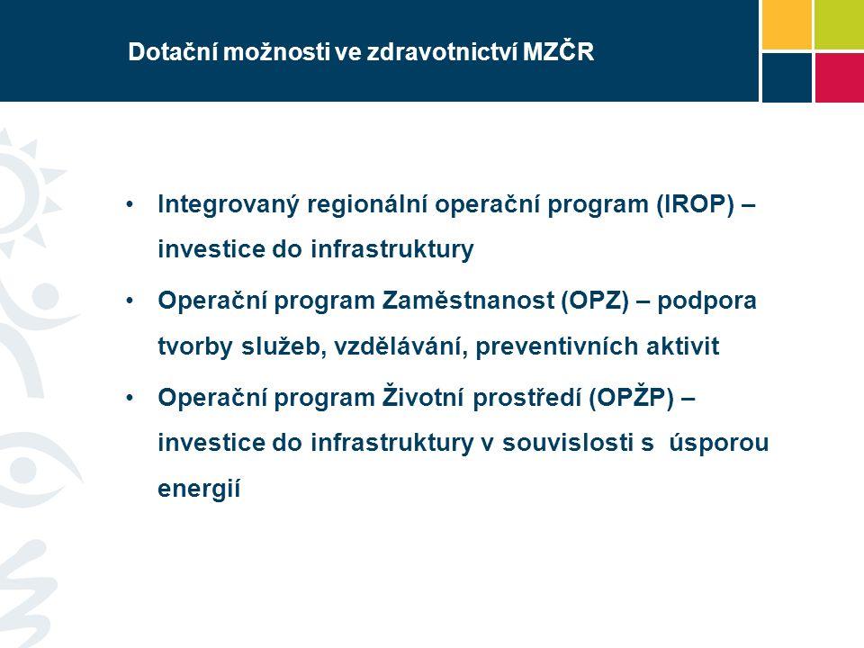 Dotační možnosti ve zdravotnictví MZČR Integrovaný regionální operační program (IROP) – investice do infrastruktury Operační program Zaměstnanost (OPZ