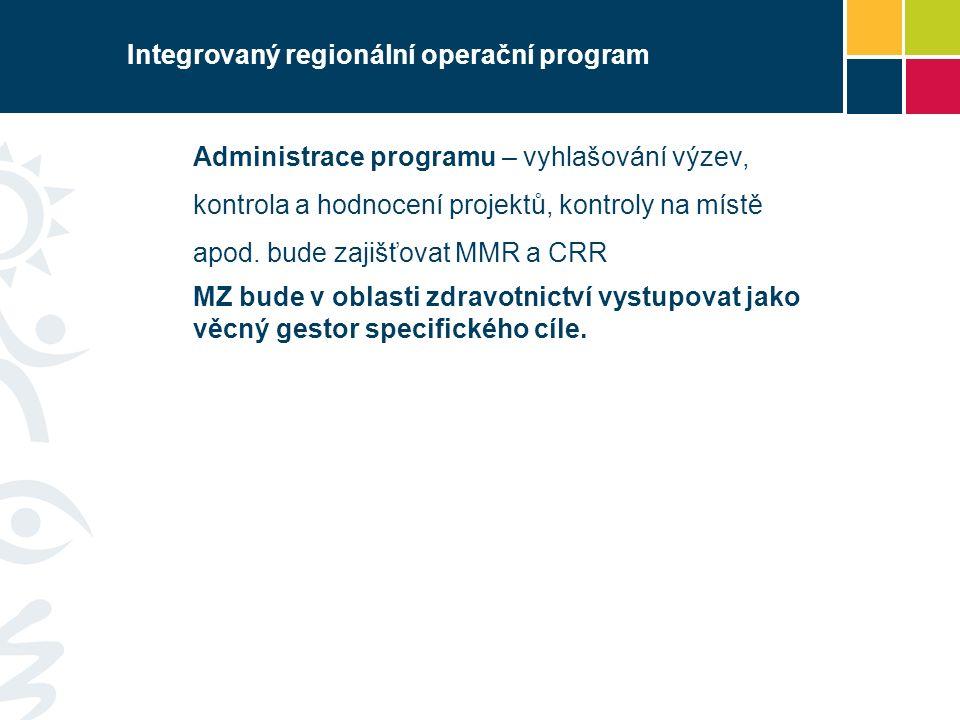 Integrovaný regionální operační program Administrace programu – vyhlašování výzev, kontrola a hodnocení projektů, kontroly na místě apod. bude zajišťo