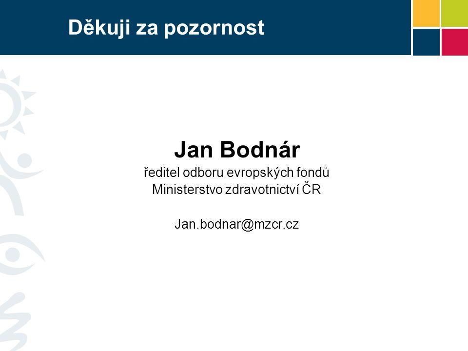 Děkuji za pozornost Jan Bodnár ředitel odboru evropských fondů Ministerstvo zdravotnictví ČR Jan.bodnar@mzcr.cz