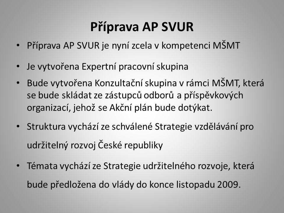 Příprava AP SVUR Příprava AP SVUR je nyní zcela v kompetenci MŠMT Je vytvořena Expertní pracovní skupina Bude vytvořena Konzultační skupina v rámci MŠMT, která se bude skládat ze zástupců odborů a příspěvkových organizací, jehož se Akční plán bude dotýkat.