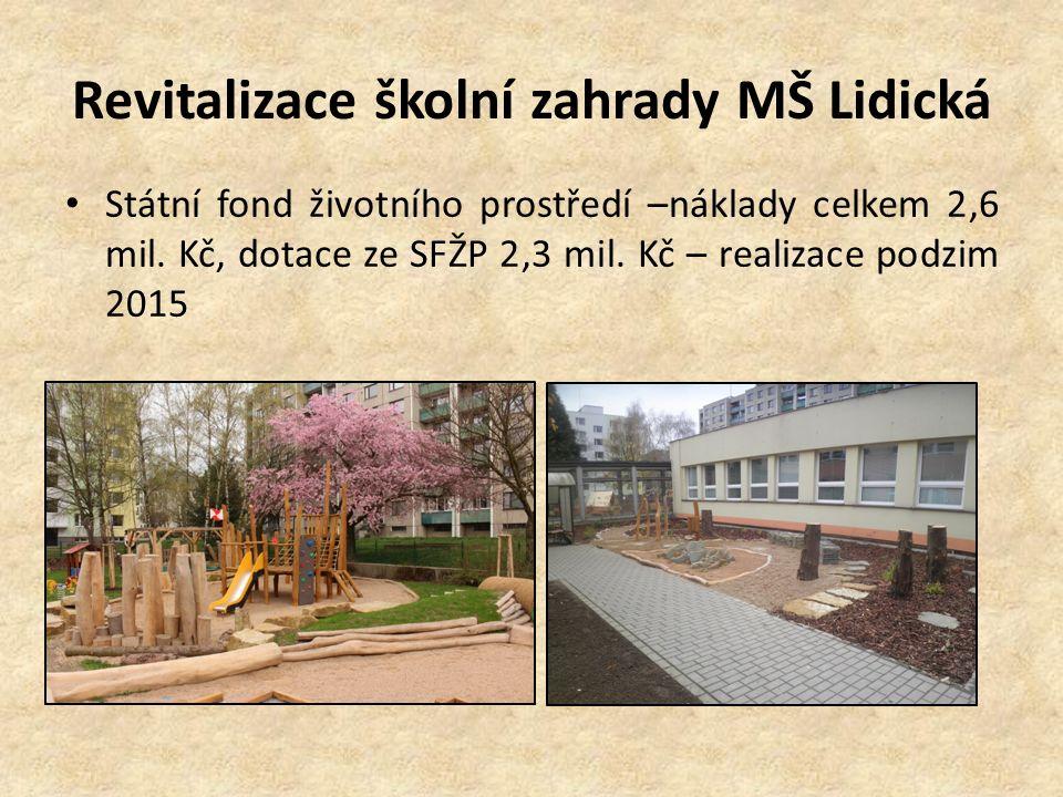 Revitalizace školní zahrady MŠ Lidická Státní fond životního prostředí –náklady celkem 2,6 mil. Kč, dotace ze SFŽP 2,3 mil. Kč – realizace podzim 2015