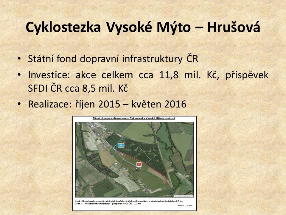 Cyklostezka Vysoké Mýto – Hrušová Státní fond dopravní infrastruktury ČR Investice: akce celkem cca 11,8 mil. Kč, příspěvek SFDI ČR cca 8,5 mil. Kč Re