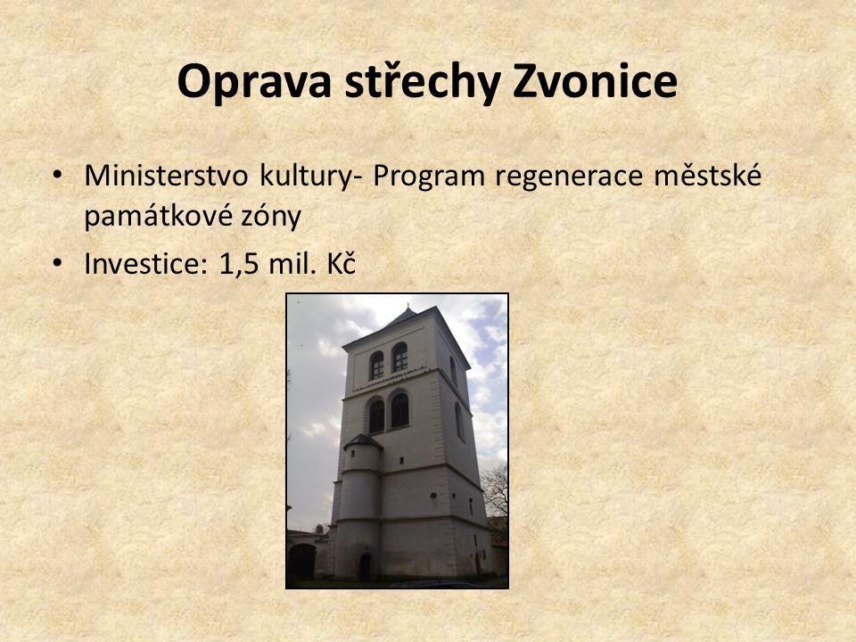 Oprava střechy Zvonice Ministerstvo kultury- Program regenerace městské památkové zóny Investice: 1,5 mil. Kč