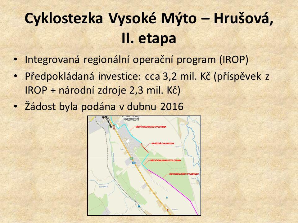 Cyklostezka Vysoké Mýto – Hrušová, II. etapa Integrovaná regionální operační program (IROP) Předpokládaná investice: cca 3,2 mil. Kč (příspěvek z IROP