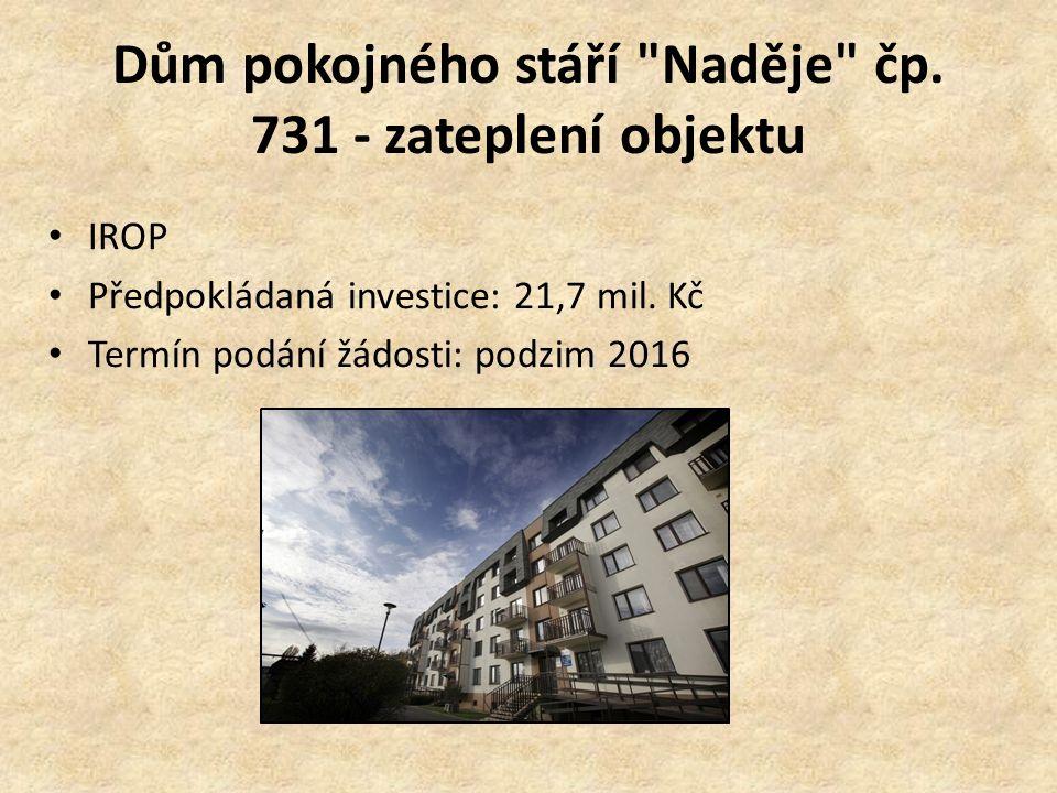 Dům pokojného stáří Naděje čp.731 - zateplení objektu IROP Předpokládaná investice: 21,7 mil.