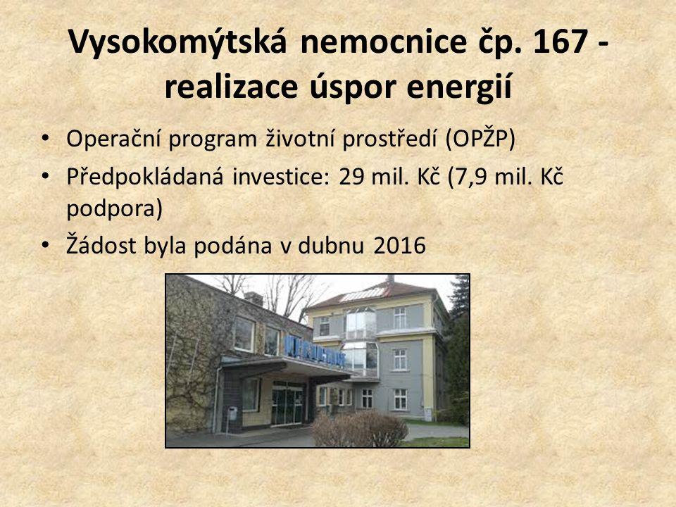 Vysokomýtská nemocnice čp. 167 - realizace úspor energií Operační program životní prostředí (OPŽP) Předpokládaná investice: 29 mil. Kč (7,9 mil. Kč po