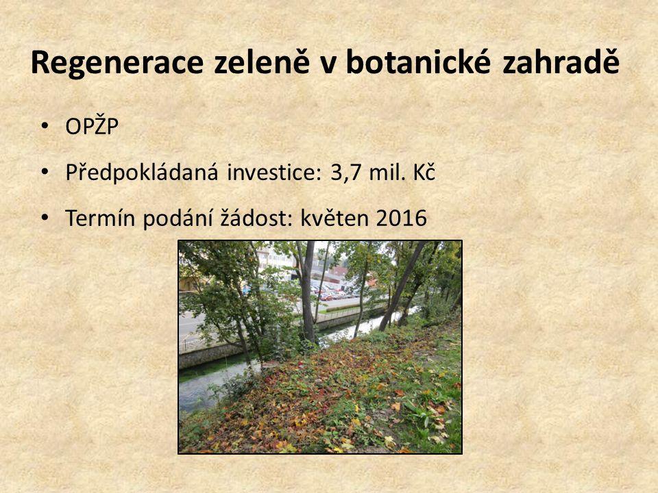 Regenerace zeleně v botanické zahradě OPŽP Předpokládaná investice: 3,7 mil. Kč Termín podání žádost: květen 2016