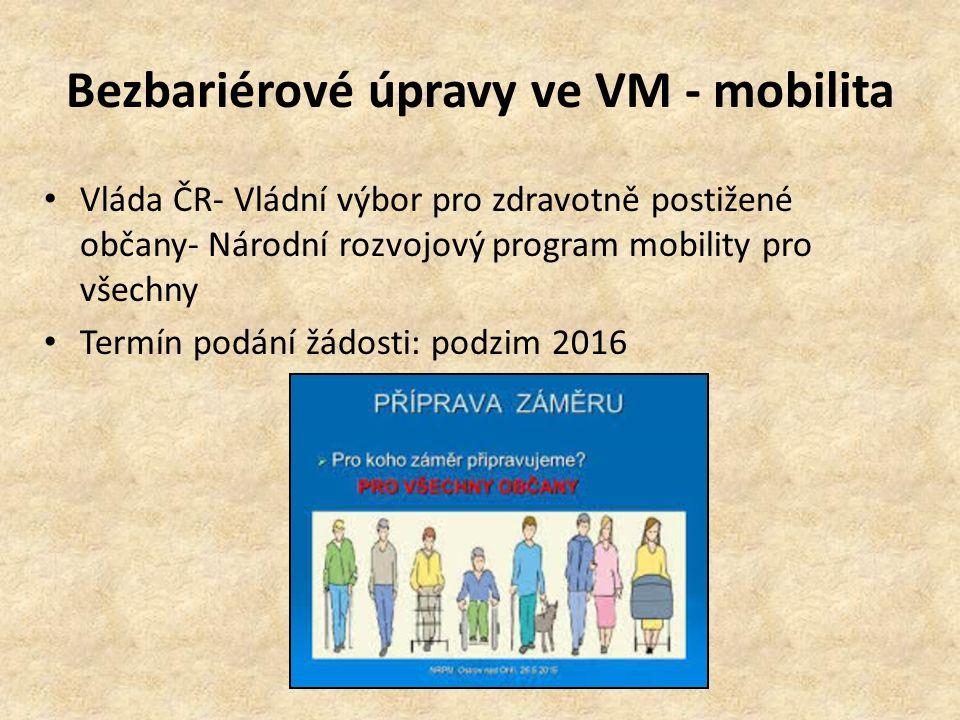 Bezbariérové úpravy ve VM - mobilita Vláda ČR- Vládní výbor pro zdravotně postižené občany- Národní rozvojový program mobility pro všechny Termín podání žádosti: podzim 2016