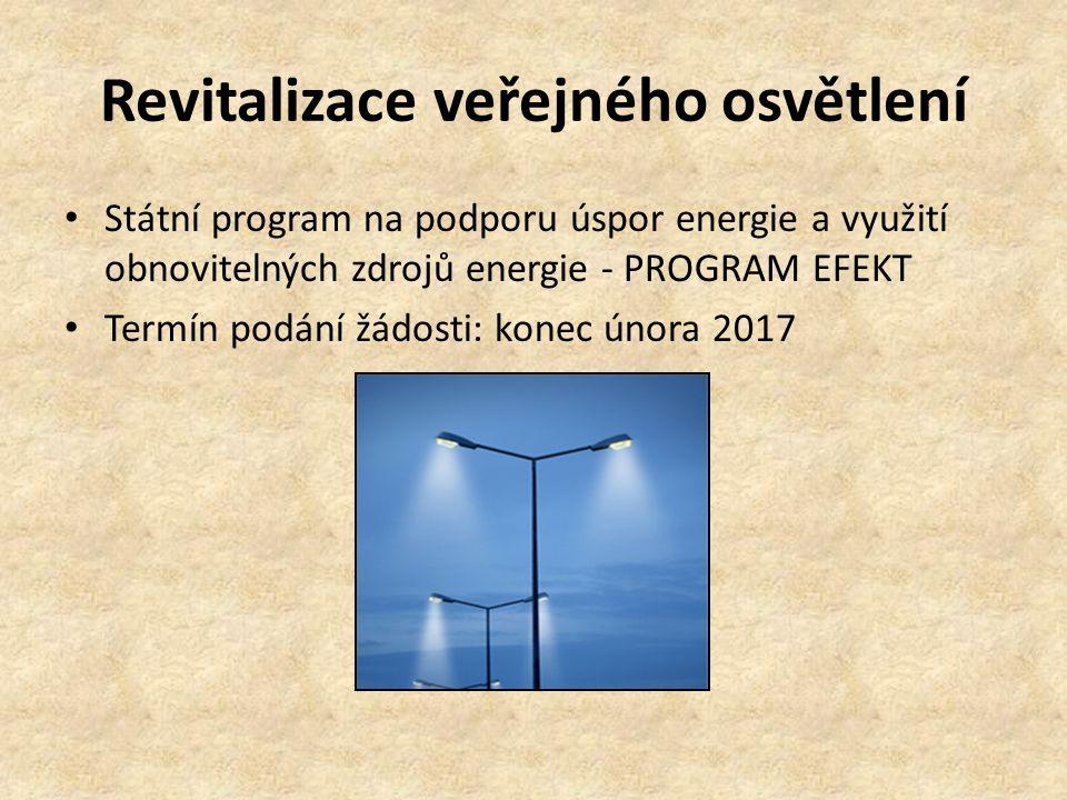 Revitalizace veřejného osvětlení Státní program na podporu úspor energie a využití obnovitelných zdrojů energie - PROGRAM EFEKT Termín podání žádosti: konec února 2017