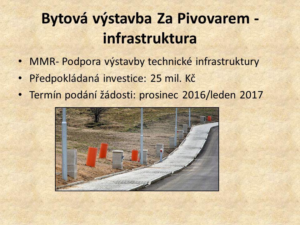 Bytová výstavba Za Pivovarem - infrastruktura MMR- Podpora výstavby technické infrastruktury Předpokládaná investice: 25 mil. Kč Termín podání žádosti