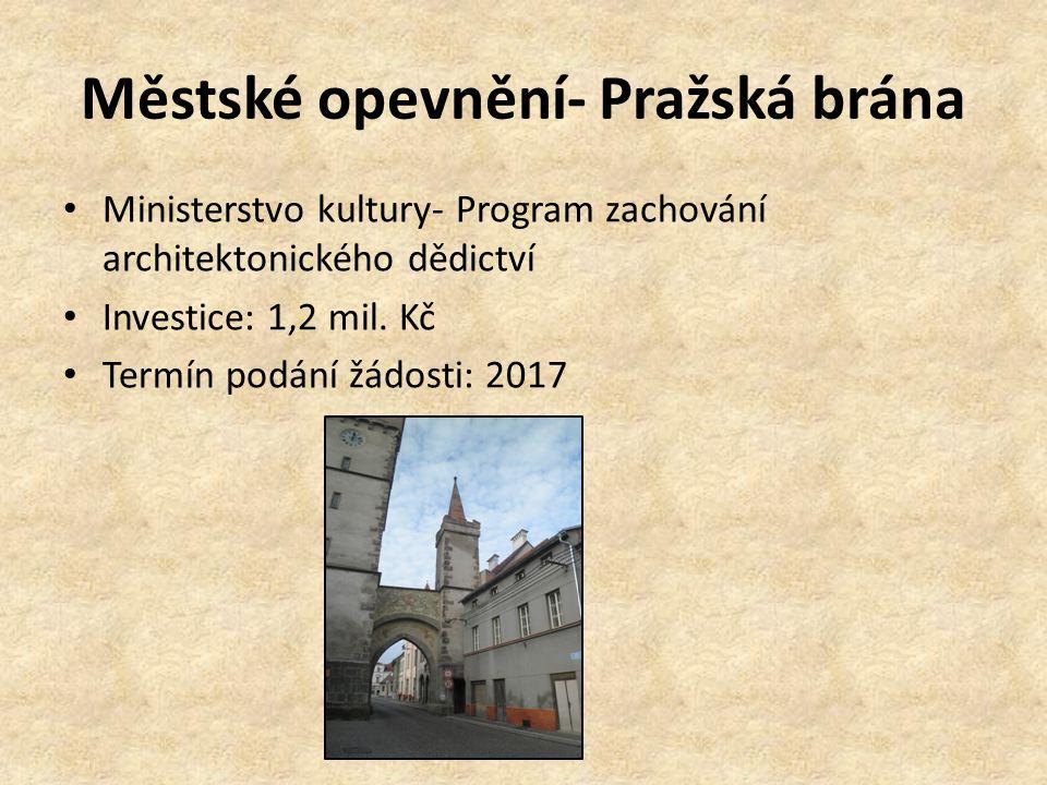 Městské opevnění- Pražská brána Ministerstvo kultury- Program zachování architektonického dědictví Investice: 1,2 mil. Kč Termín podání žádosti: 2017