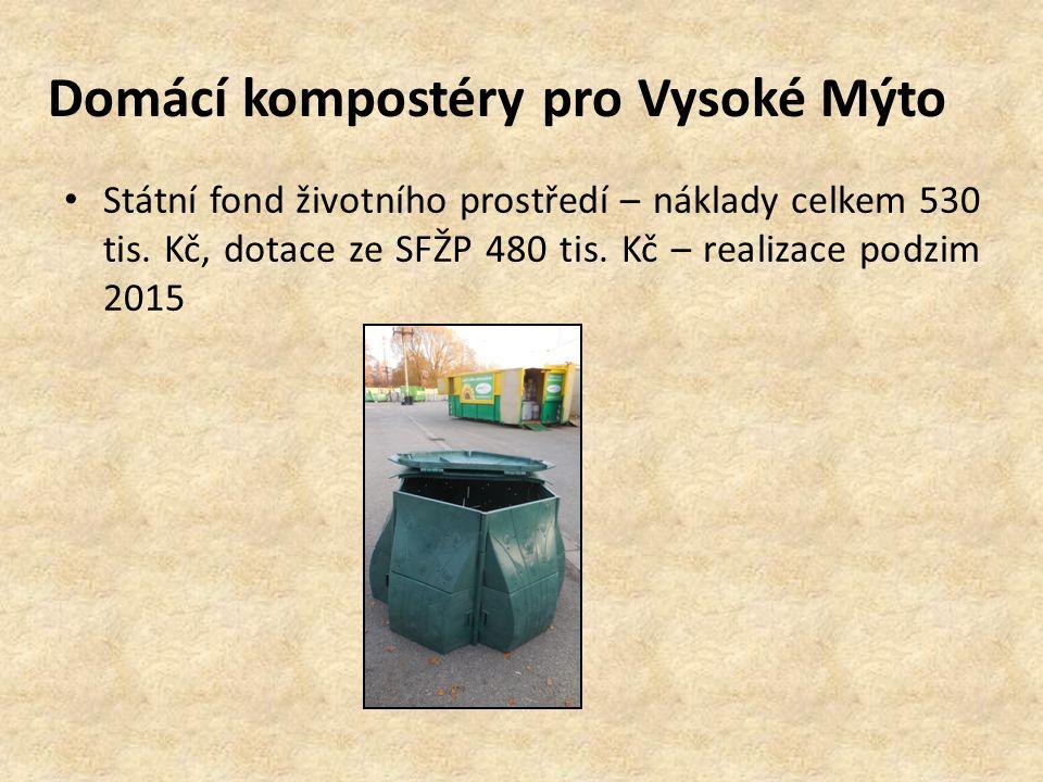 Domácí kompostéry pro Vysoké Mýto Státní fond životního prostředí – náklady celkem 530 tis.