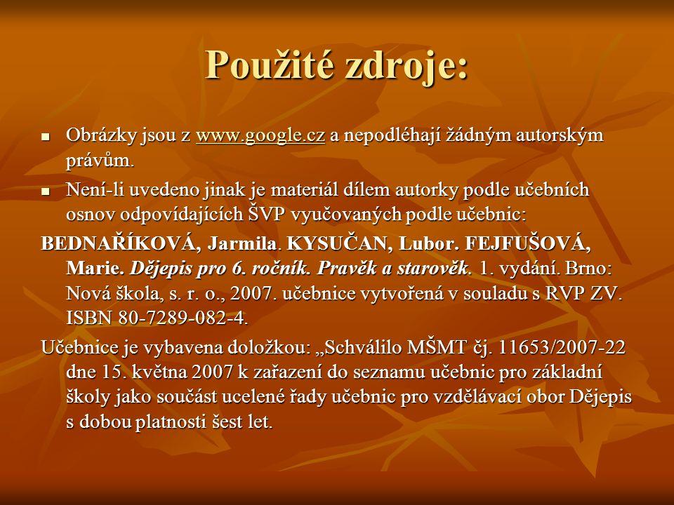 Použité zdroje: Obrázky jsou z www.google.cz a nepodléhají žádným autorským právům. Obrázky jsou z www.google.cz a nepodléhají žádným autorským právům