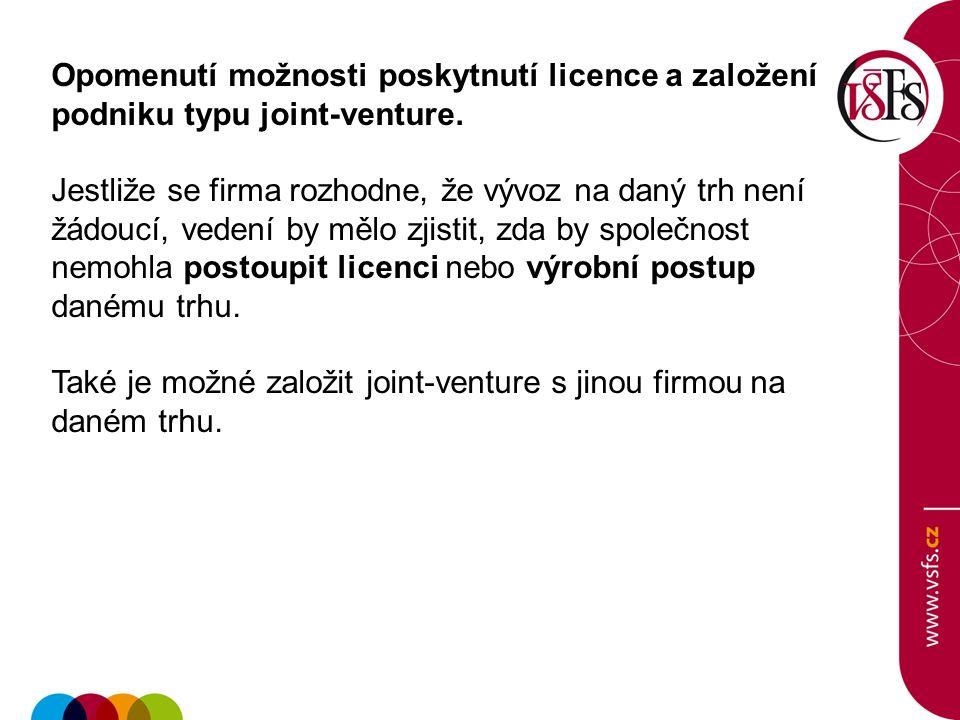 Opomenutí možnosti poskytnutí licence a založení podniku typu joint-venture. Jestliže se firma rozhodne, že vývoz na daný trh není žádoucí, vedení by