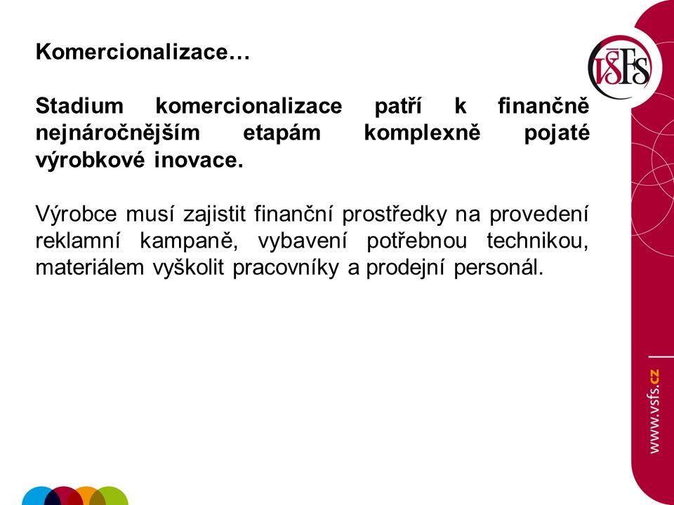 Komercionalizace… Stadium komercionalizace patří k finančně nejnáročnějším etapám komplexně pojaté výrobkové inovace. Výrobce musí zajistit finanční p