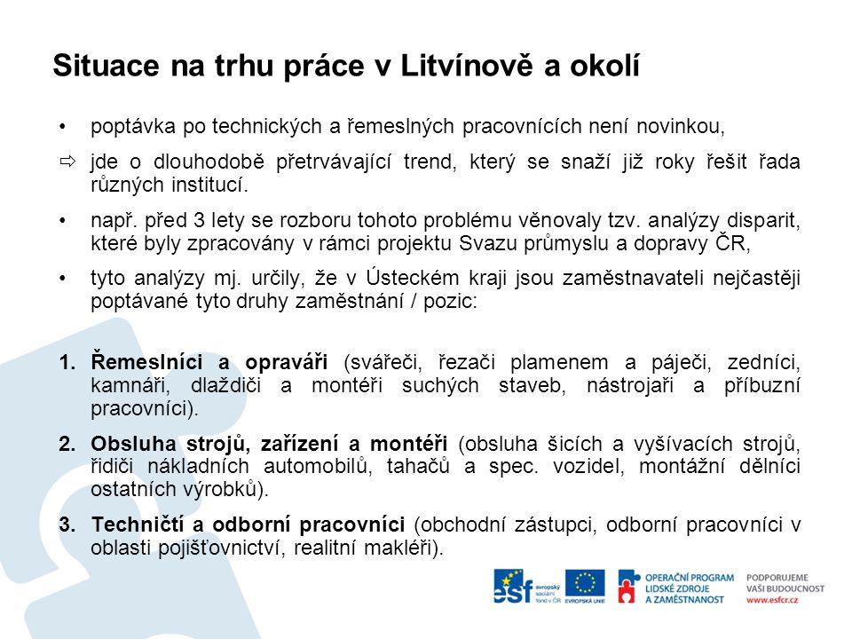 Situace na trhu práce v Litvínově a okolí poptávka po technických a řemeslných pracovnících není novinkou,  jde o dlouhodobě přetrvávající trend, který se snaží již roky řešit řada různých institucí.