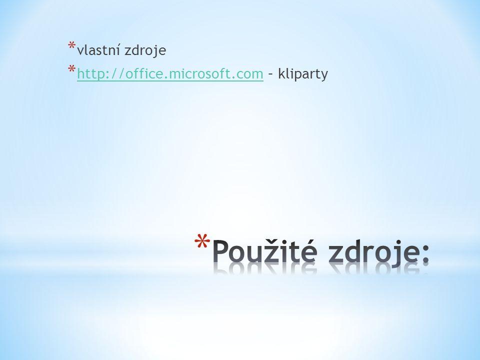 * vlastní zdroje * http://office.microsoft.com – kliparty http://office.microsoft.com