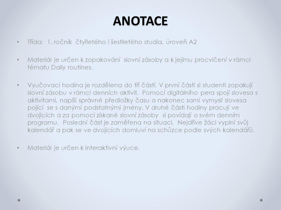 ANOTACE Třída: 1.