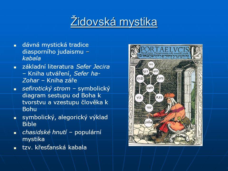 Židovská mystika – dávná mystická tradice diasporního judaismu – kabala základní literatura Sefer Jecira – Kniha utváření, Sefer ha- Zohar – Kniha zář