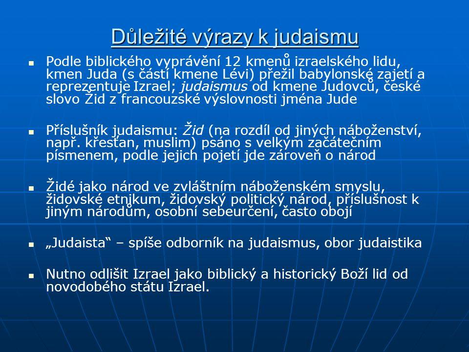 Důležité výrazy k judaismu Podle biblického vyprávění 12 kmenů izraelského lidu, kmen Juda (s částí kmene Lévi) přežil babylonské zajetí a reprezentuje Izrael; judaismus od kmene Judovců, české slovo Žid z francouzské výslovnosti jména Jude Příslušník judaismu: Žid (na rozdíl od jiných náboženství, např.