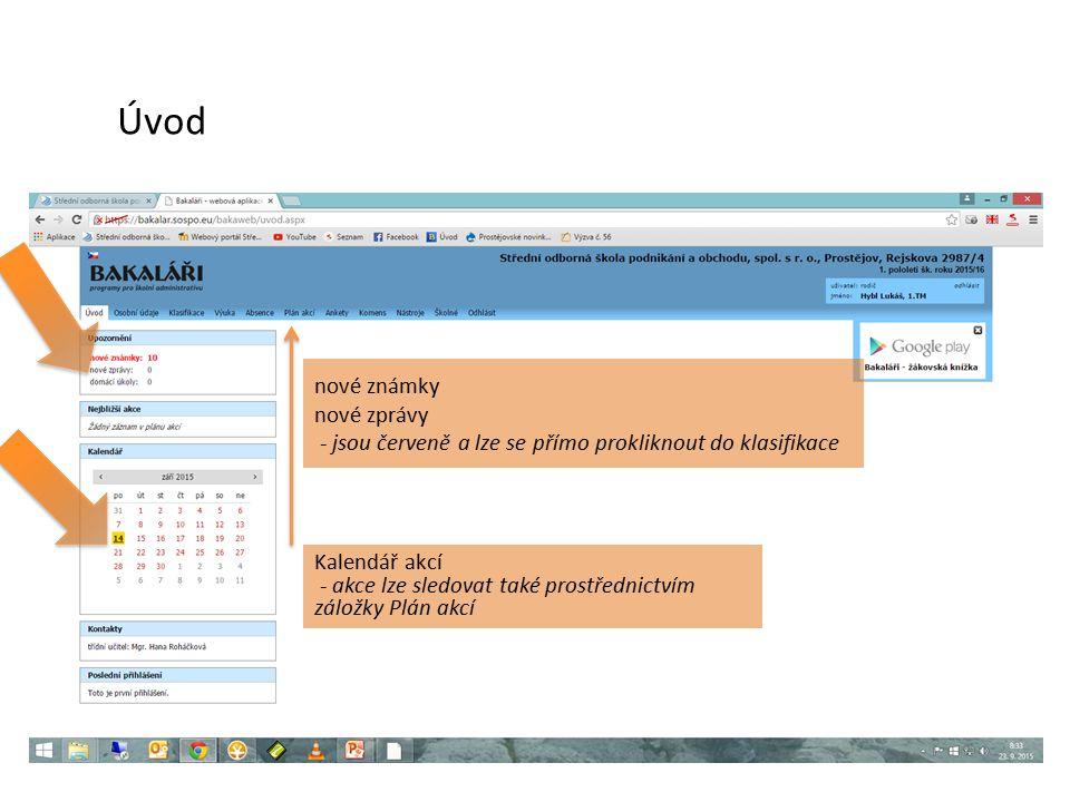 nové známky nové zprávy - jsou červeně a lze se přímo prokliknout do klasifikace Úvod Kalendář akcí - akce lze sledovat také prostřednictvím záložky Plán akcí