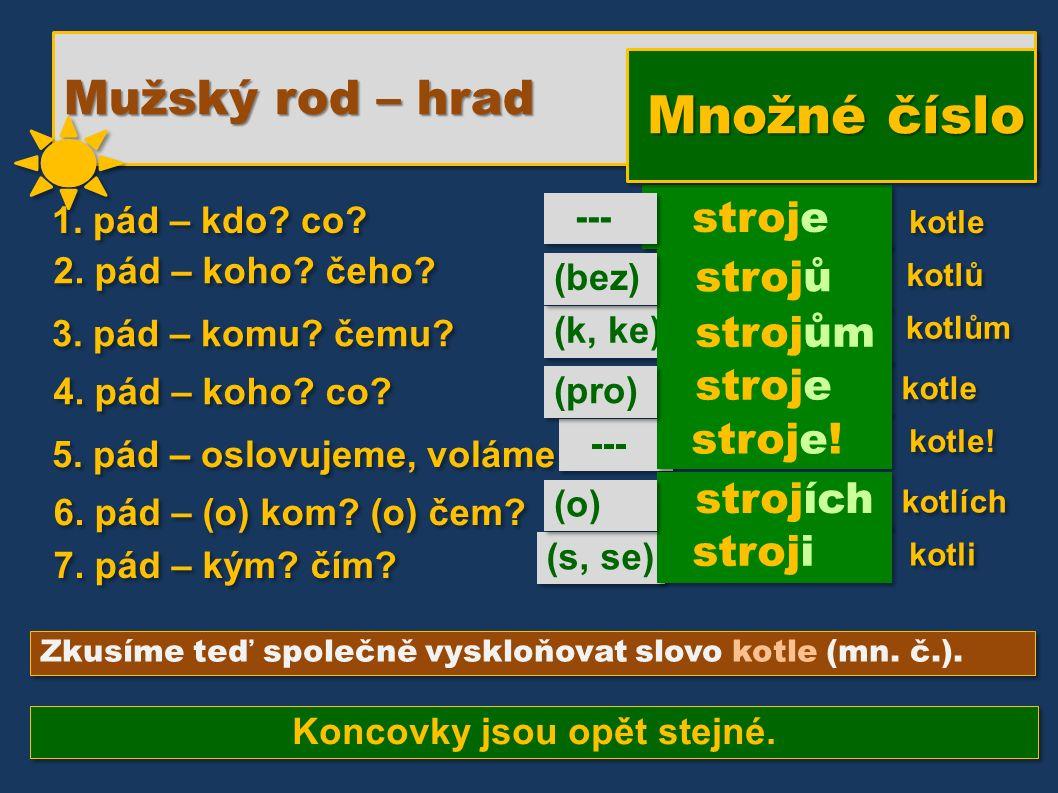 (k, ke) --- (s, se) stroje strojů Zkusíme teď společně vyskloňovat slovo kotle (mn.