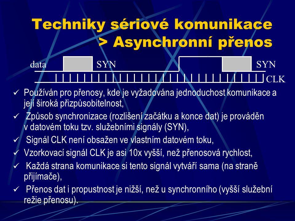 Techniky sériové komunikace > Synchronní přenos Používán pro přenosy, kde je vyžadována garance rychlosti přenosu (zvuk, video…), tj.