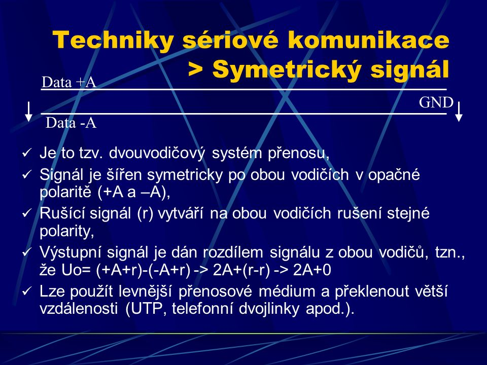 Techniky sériové komunikace > Asymetrický signál Je to tzv.